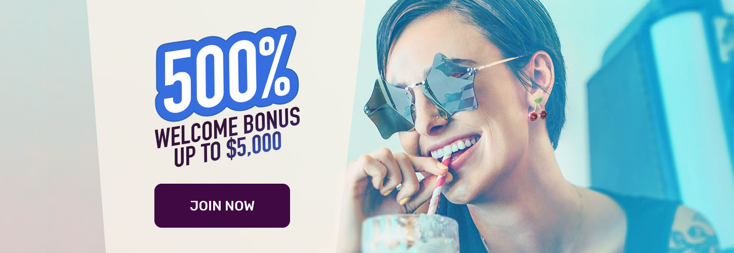 Get a 500% welcome bonus up to $5,000 when you join Cafe Casino.